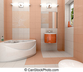 Modern bathroom - 3D rendering of a modern bathroom with in...
