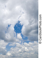 thundercloud - leaden clouds. grey clouds and blue sky