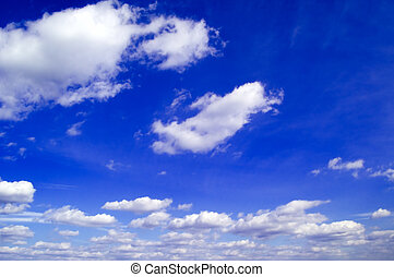 The blue sky. - The beautiful white clouds on background...