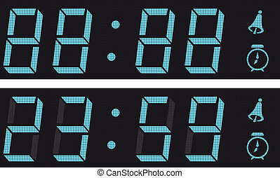 The display a digital clock A raster vector illustration