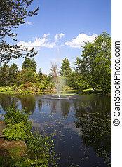 fountain in botanical garden in vancouver vandusen park
