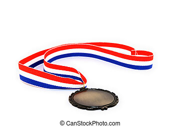 Blank medal with tricolor ribbon, isolated on white...
