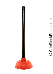 Plunger on white background - New red plunger, isolated on...