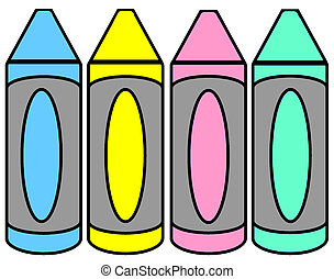 Crayons - simple clip-art illustration of crayons in pastel...