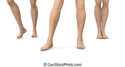 Bare Feet - 3D rendered Illustration. Not a Photography.