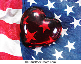patriotic heart - glass heart on American USA flag red white...