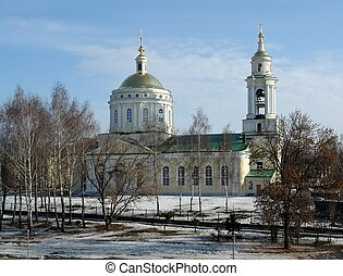orthodox temple on the shore of river Winter