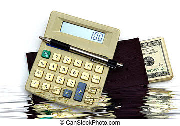 Accounting - check book calculator and pen against a white...