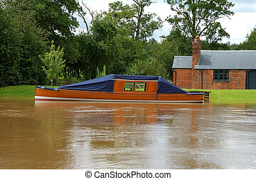 Wooden Pleasure Boat - Old wooden pleasure cruiser moored on...