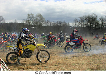 Cross country - Start motorcycle races on a cross-country...