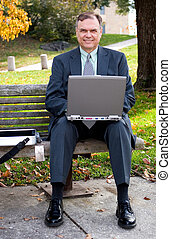 Businessman - A businessman using his laptop on a park bench