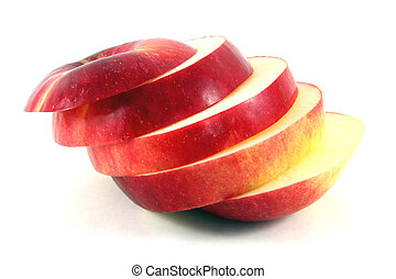 apple cut in slices - single red apple isolated on white...