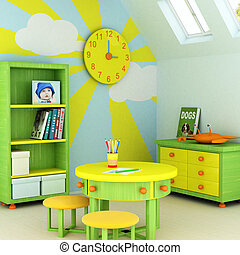 Child room - Picture of a baby, design on the wall, picture...
