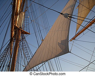 Triangle sail and rigging - Ships mast with triangular sail...