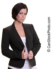 Business woman - Attractive serious short haired brunette...
