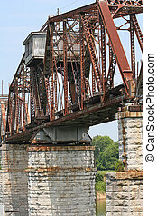 Old working train bridge - Old train bridge crossing river,...