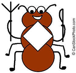 Whats for Dinner - simple clip-art illustration of a red ant...
