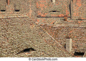 Old roofs - Abstract image generated by specific roofs from...