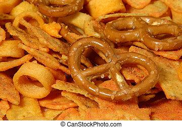 snack - party snack with pretzel, rings and cornchips