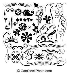 elementos, desenho, escova, vetorial