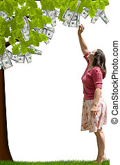 Money Tree - a lady reaching up to pick money from a tree