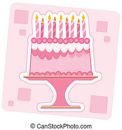 Pink Birthday Cake Illustration - Illustration of a Pink...