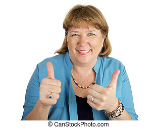 Double Thumbsup - A pretty, mature woman giving two thumbs...