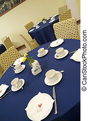 Restaurant tables - Blue and yellow table before wedding in...
