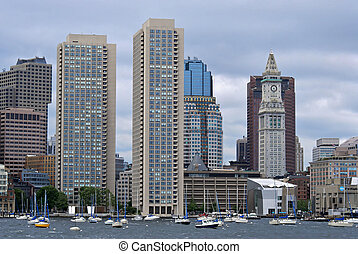 twin towers and custom house from boston harbor - View of...