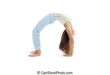 urdhva dhanurasana upward bow pose - sporty girl practicing...