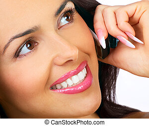 Woman with cellular - attractive young woman calling by...