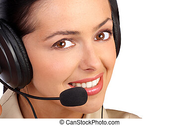 CALL CENTER OPERATOR - Business woman with headset. Isolated...