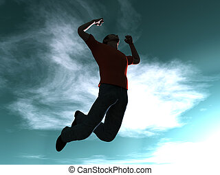 Jumping to the sky - 3D rendered Illustration.