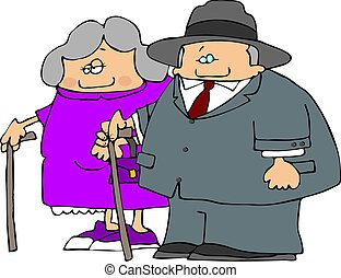 Old Couple - This illustration depicts an old man and woman