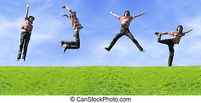 Energy Of Youth Young Man Jumping Happy On Meadow