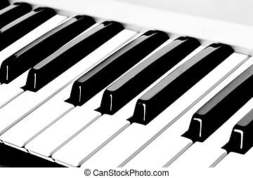 Piano Keyboard (Piano / Synthesizer Keys Closeup View)