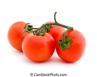 Four tomatoes on white