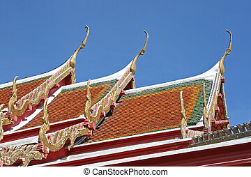 Temple Roof - Close up of the roof of a Thai temple