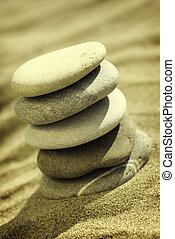 balance - special sepia toned photo fx,focus point on stones...