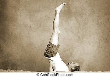 vintage yoga - special toned and texture photo f/x (retro...