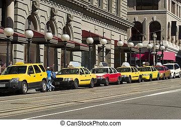 Taxis Waiting in line for customers
