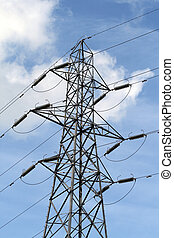 High Power - A single electricity pylon against a blue sky...