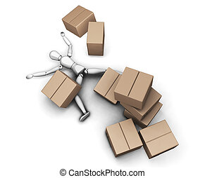 Man with boxes - 3D render of someone flattened by a stack...
