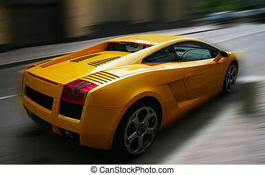 Yellow car - The image of the yellow respectable automobile...