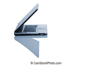Open Laptop - Picture of a laptop on a white background with...