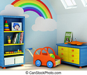 Boy\\\'s room - Picture of a boy, book covers, and design on...
