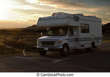 Recreational vehicle - Rv car in sunset light, traveling...