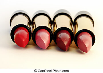 Lipstick set on white background