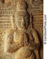 namaste - detail of a sculpture at mahabalipurum, tamil...