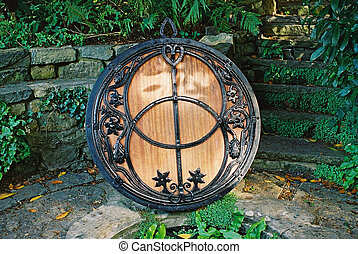 Vesica Piscis - The lid of the Chalice Well in Glastonbury.
